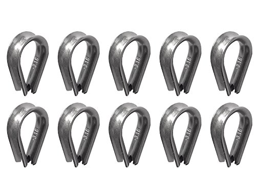 10 pieces stainless steel 316 5mm wire rope thimbles