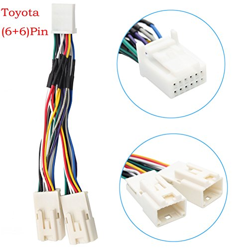 auxillary adapter,yomikoo y cable radio wiring harness for usb adapter cd  changer navigation device fit for toyota 6+6pin 2003-2014 toyota camry  corolla